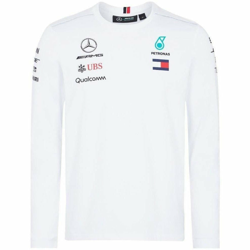 Mercedes Benz AMG Formula 1 Petronas White 2018 Long Sleeve Drivers T-Shirt