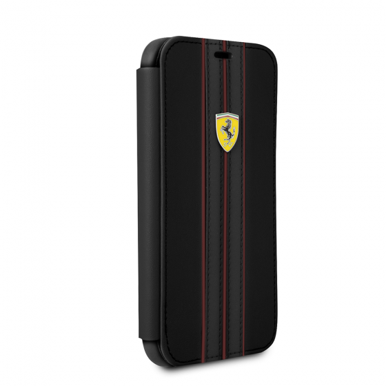 FERRARI GENUINE BLACK LEATHER URBAN BOOKSTYLE CASE