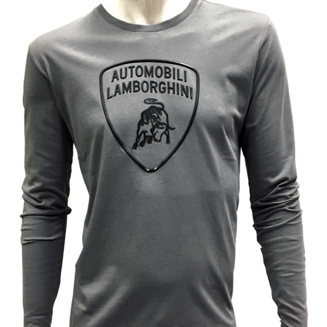 Automobili Lamborghini Men's Gray Long Sleeve T-Shirt