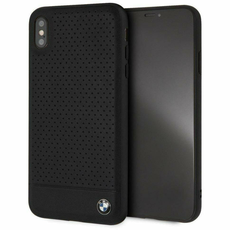 BMW Black Perforated Leather Hard Case, iPhone XS Max
