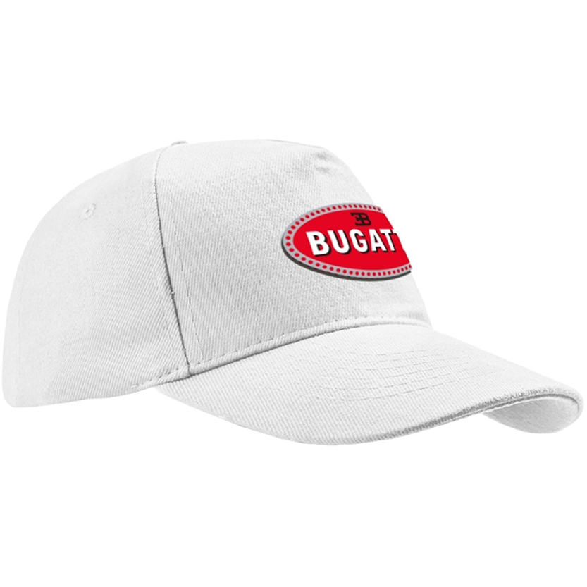 Bugatti White Baseball Hat with Red Logo