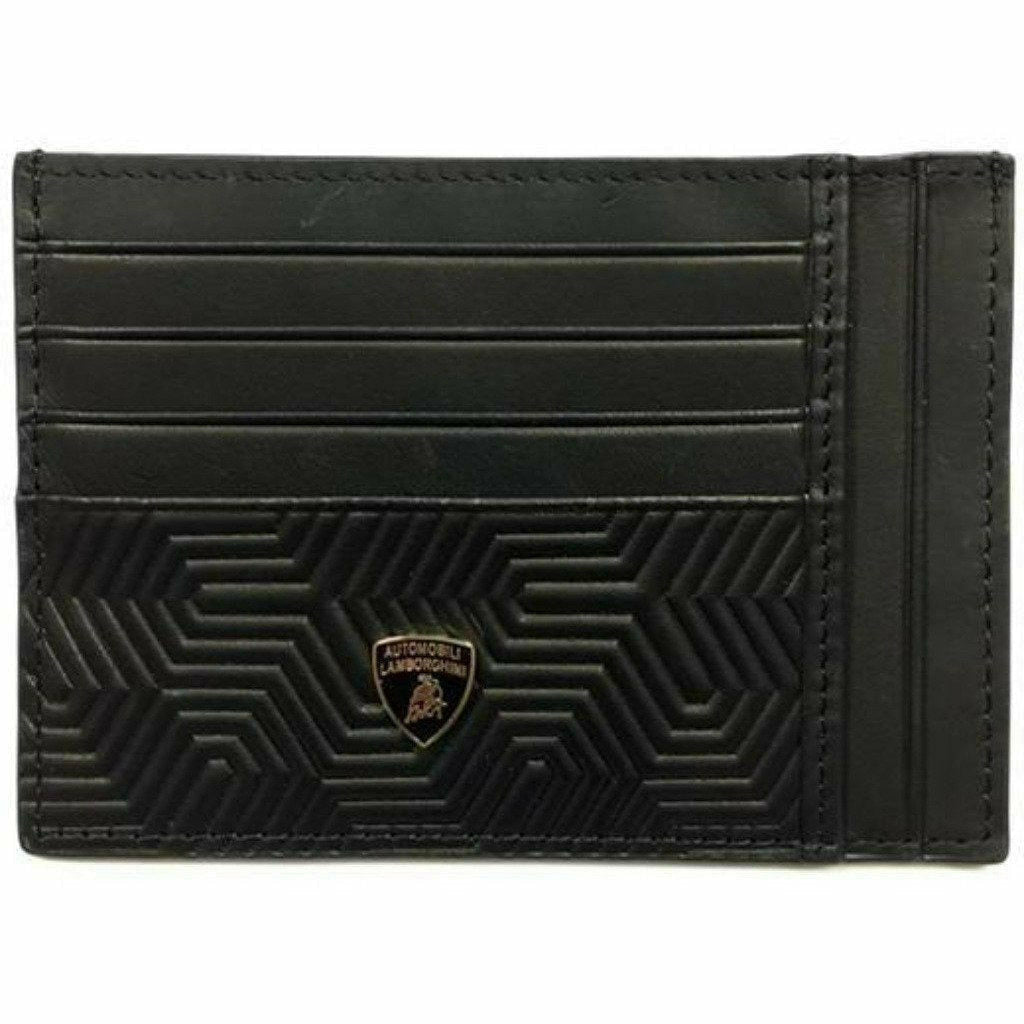 Automobili Lamborghini Leather 3D Textured Credit Card Holder Wallet -Black