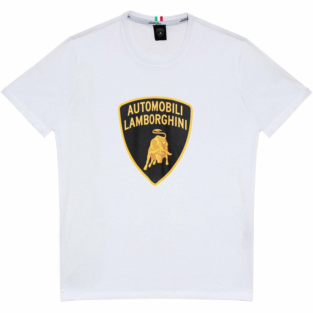 Automobili Lamborghini Men's Big Shield T-Shirt White