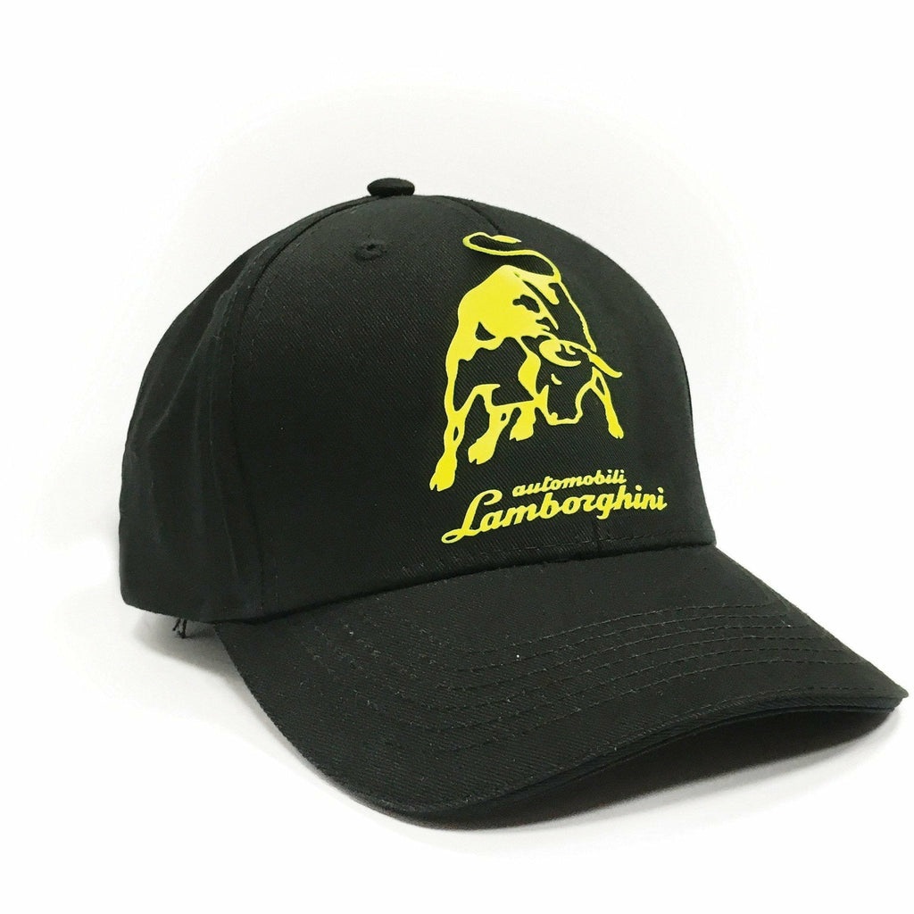 Automobili Lamborghini Adjustable Black Hat with Yellow Bull