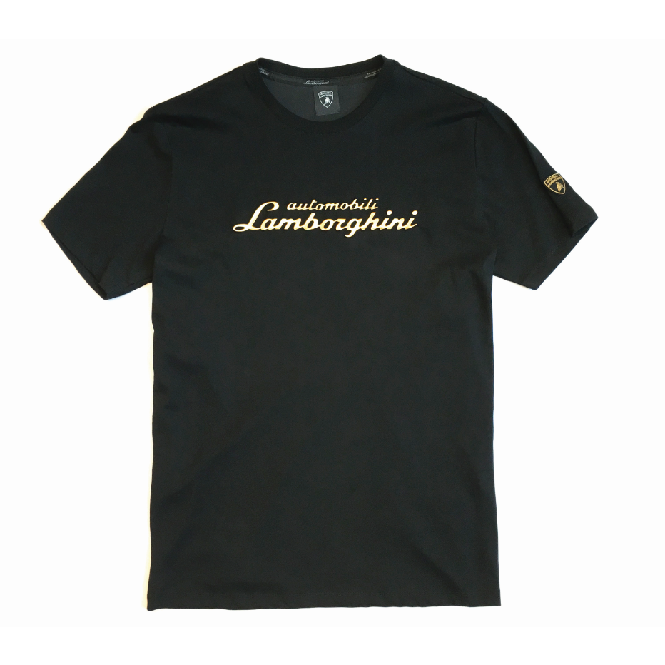 Automobili Lamborghini Men's Embossed Script T-Shirt Black