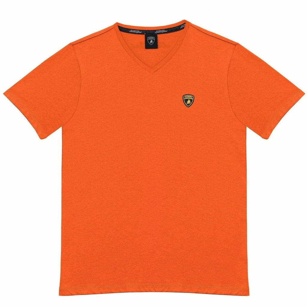 Automobili Lamborghini Men's V-Neck Small Logo T-Shirt Orange
