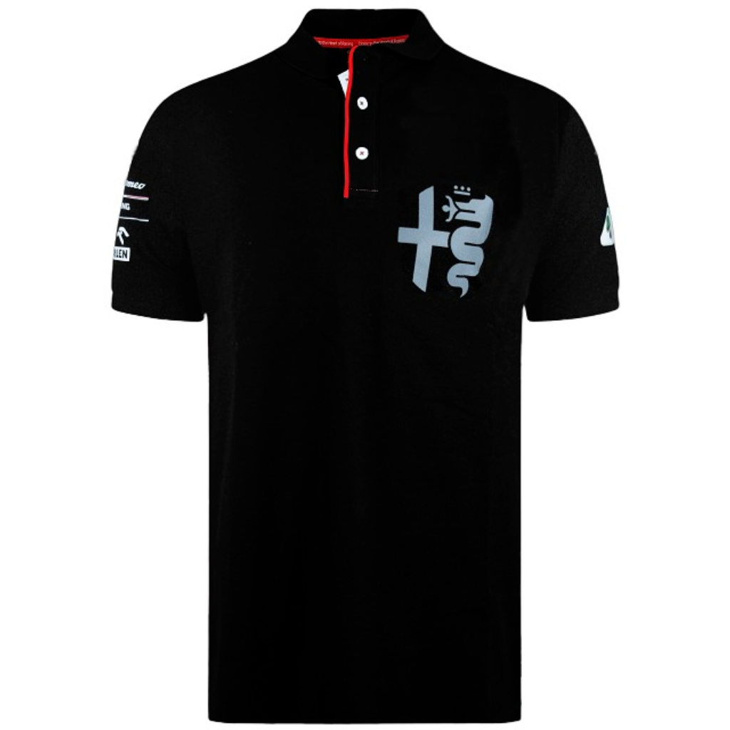 Alfa Romeo Racing F1 Men's Silver Tribute Polo Shirt Black