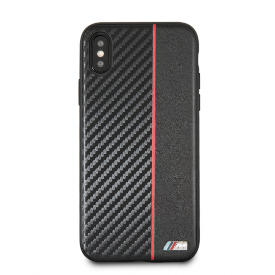 BMW RED STRIPE/PU CARBON FIBER HARD CASE