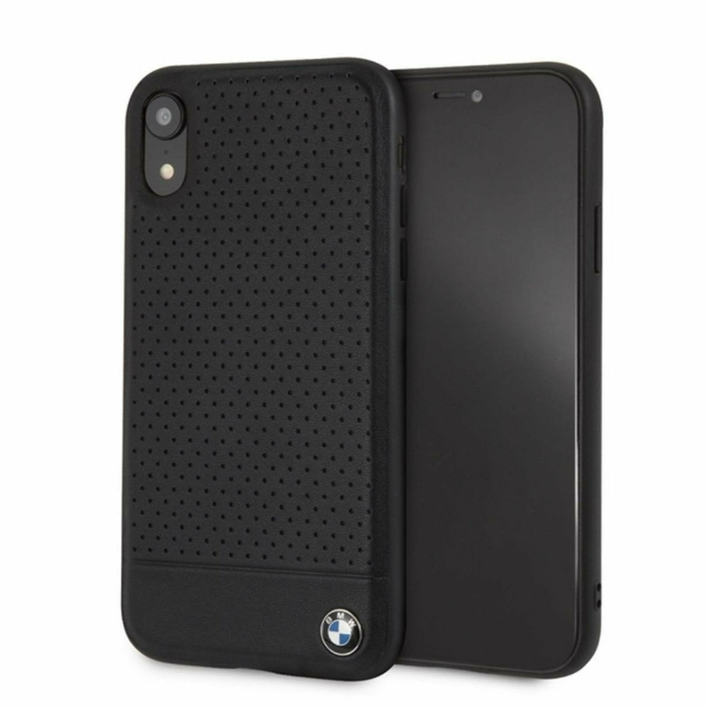 BMW Black Perforated Leather Hard Case, iPhone XR