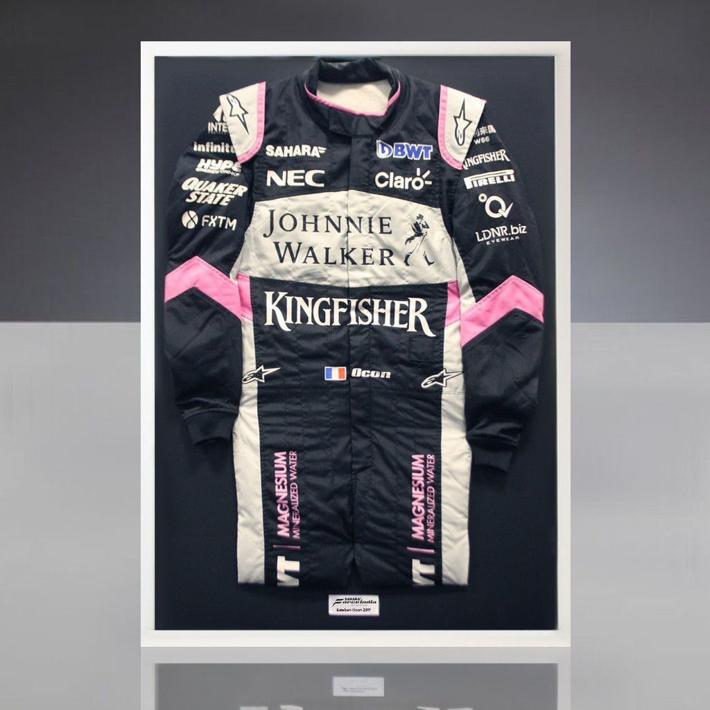 Sahara Force India Formula 1 Esteban Ocon Worn 2017 Race-Used Framed Racesuit