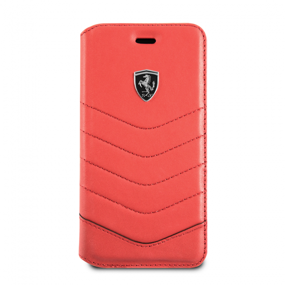 FERRARI HERITAGE COLLECTION GENUINE QUILTED RED LEATHER BOOK STYLE CASE WITH WALLET