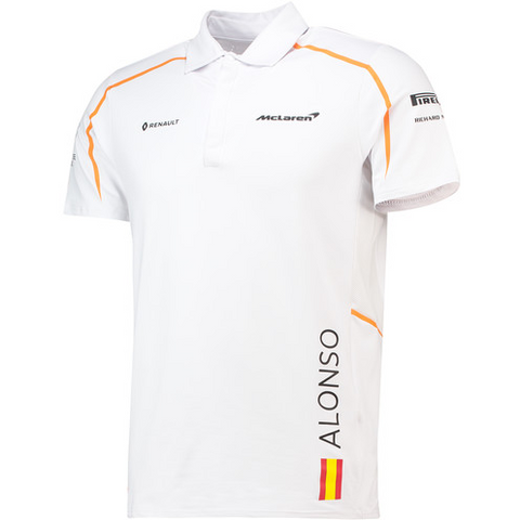 McLaren Renault Formula 1 Men's 2018 Fernando Alonso White Polo Shirt