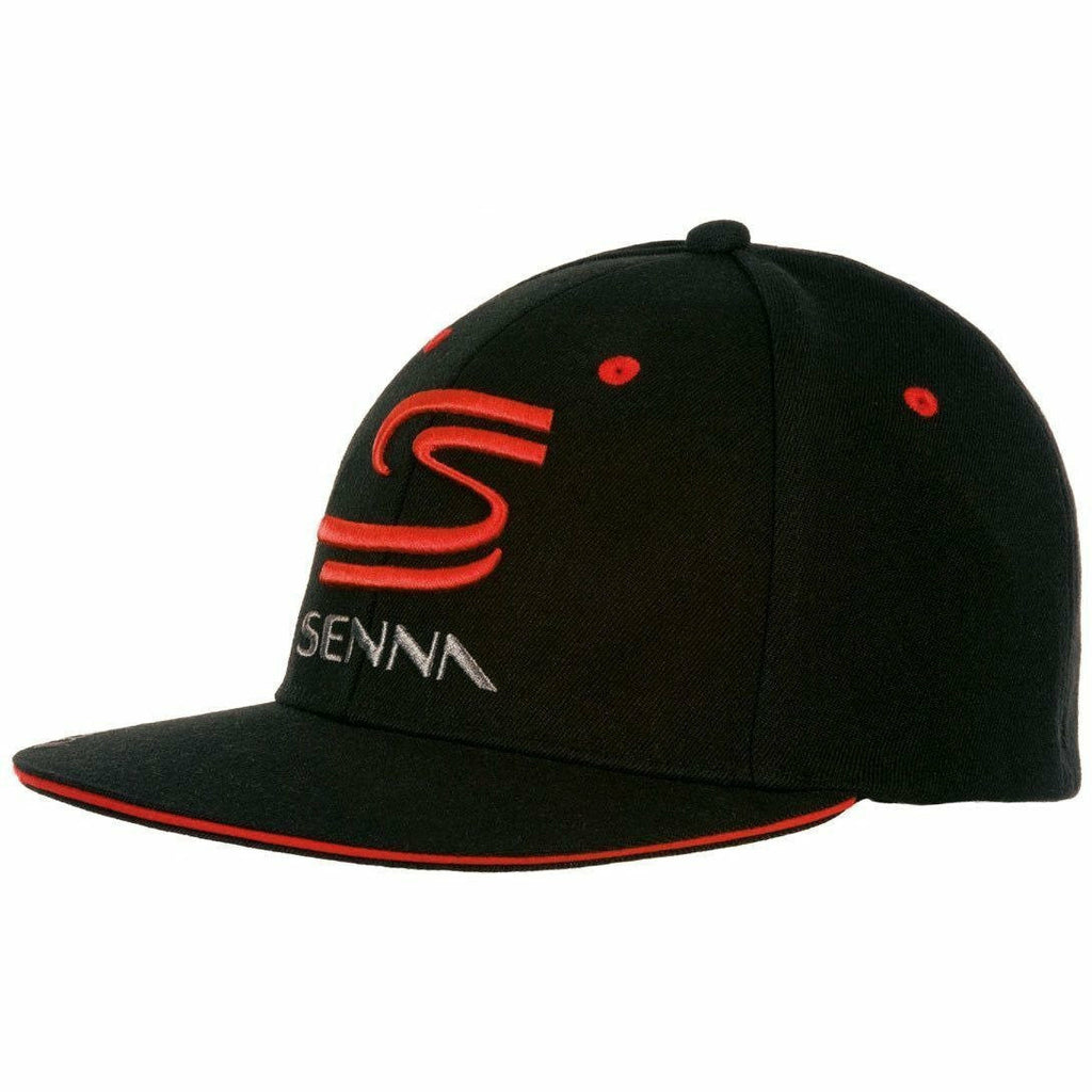 Ayrton Senna Authentic Black Flat Brim Hat with Double S Logo