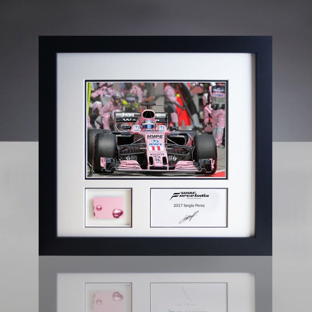 "Sahara Force India F1 Sergio ""Checo"" Perez GP Photo & Piece of Car Bodywork"