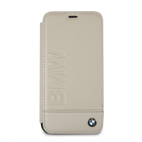 BMW TAUPE GENUINE LEATHER HARD BOOKTYPE CASE