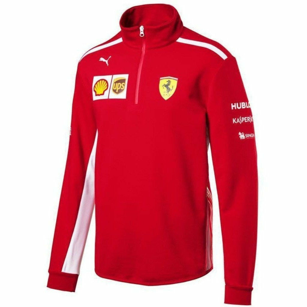 Scuderia Ferrari Formula 1 Men's Red 2018 1/2 Zip Team Fleece w/sponsors