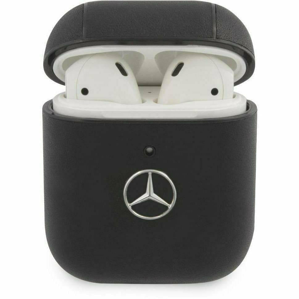 Mercedes-AMG Petronas CASE COVER FOR AIRPODS, BLACK LEATHER WITH METAL LOGO