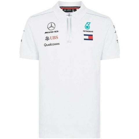 Mercedes Benz AMG Formula 1 Petronas White 2018 Drivers Team Polo Shirt