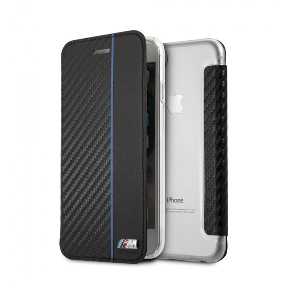 BMW IPHONE 6/7/8 BOOKTYPE HARD CASE WITH NAVY STRIPE/ PU CARBON FIBER