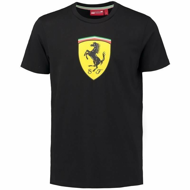 Ferrari Men's Black Classic Crew Neck 2018 T-shirt w/Large Logo