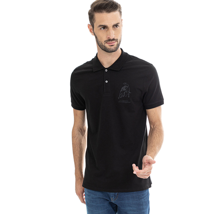 Automobili Lamborghini Men's 3D Bull Polo Black