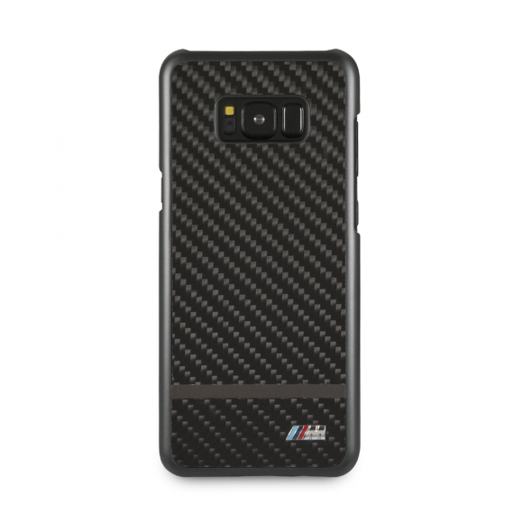 BMW BLACK REAL CARBON FIBER HARD CASE/MATTE STRIPE
