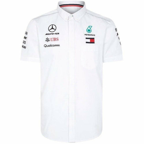 Mercedes Benz AMG Petronas Formula 1 Men's 2018 White Button Down Team Shirt