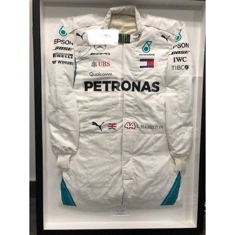 Mercedes Benz AMG F1 Lewis Hamilton Framed 2018 Replica Signed Race Suit