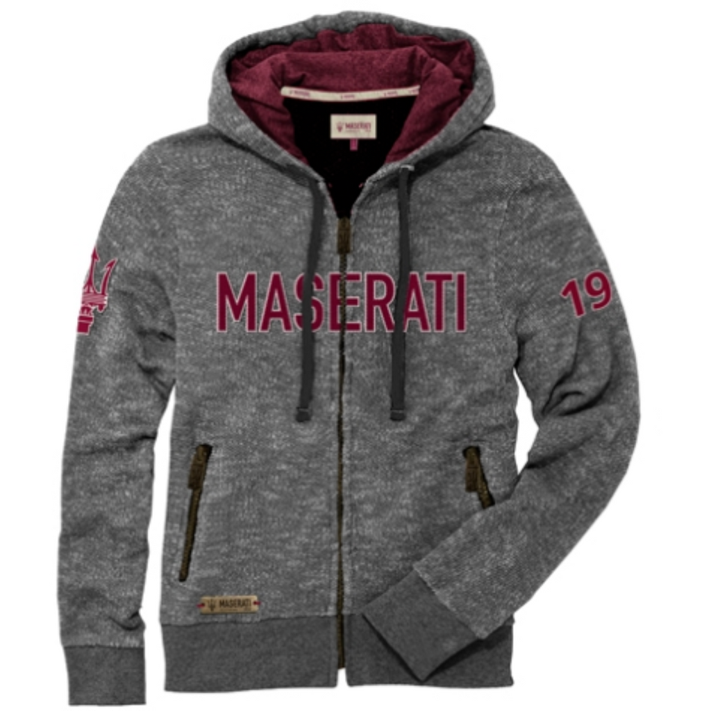 Maserati Men's Knitted Gray Zip Sweatshirt with Hood