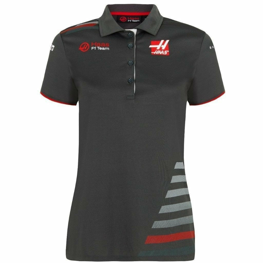 Haas American Team Formula 1 Authentic 2018 Women's Team Gray Polo