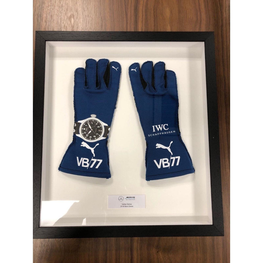 Mercedes Benz AMG F1 Valterri Bottas Race-Spec Framed 2018 Replica Blue Gloves