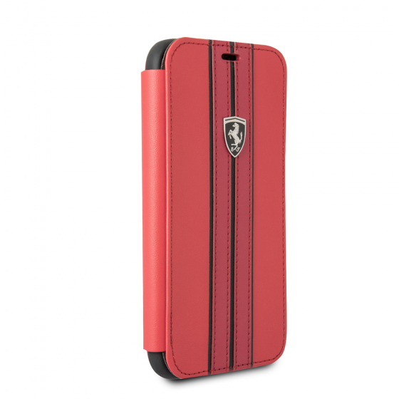 FERRARI RED PU LEATHER HARD WALLET CASE W/ CONTRASTING BLACK STITCHING FINISHES