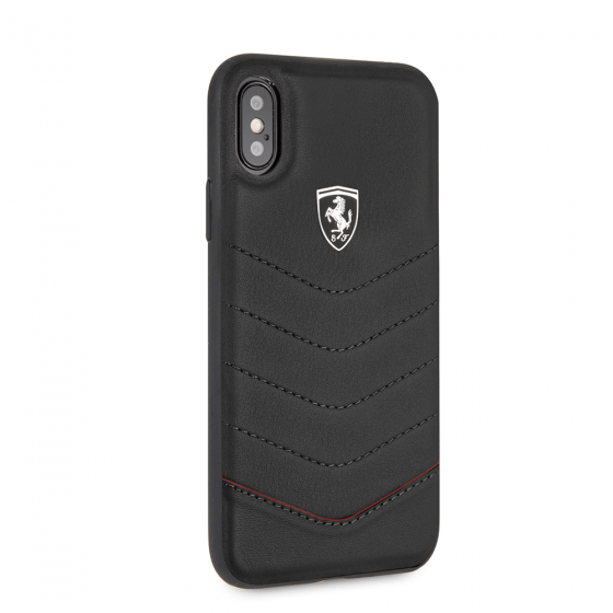 FERRARI GENUINE BLACK QUILTED LEATHER CASE