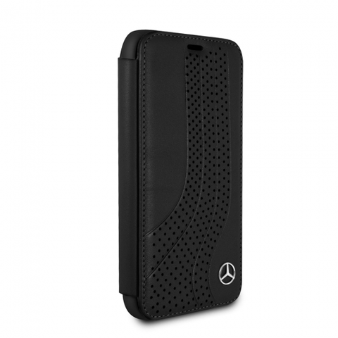 MERCEDES BENZ BLACK LEATHER NEW BOW II BOOKSTYLE CASE FOR IPHONE X