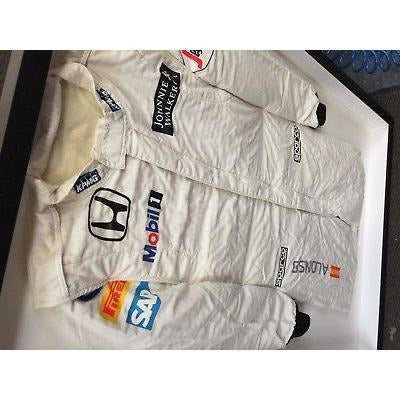 McLaren Fernando Alonso Formula 1 Race-Worn Suit Framed