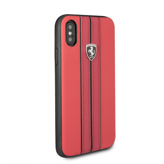 FERRARI RED PU LEATHER HARD CASE W/ CONTRASTING BLACK STITCHING FINISHES