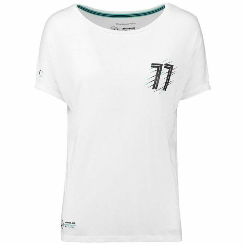 Mercedes Benz AMG Formula 1 Women's 2018 Valtteri Bottas #77 White T-Shirt
