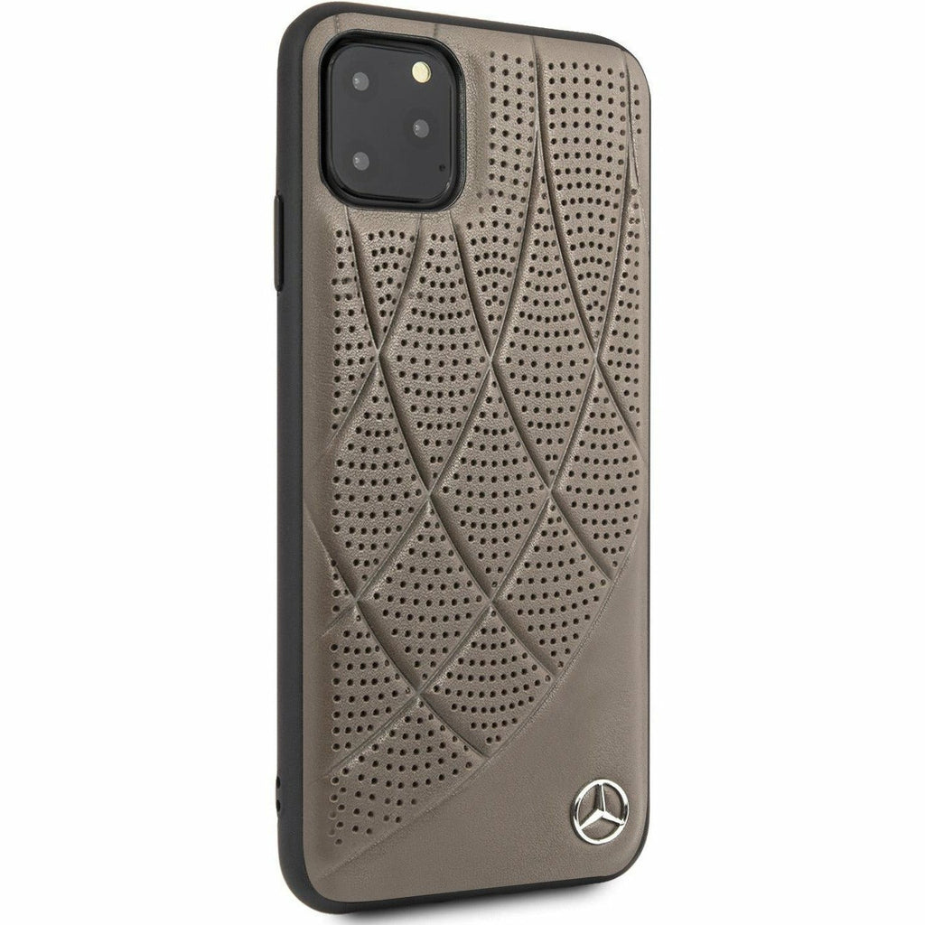 Mercedes-AMG Petronas IPHONE 11 PRO MAX HARD CASE GENUINE QUILTED BROWN LEATHER