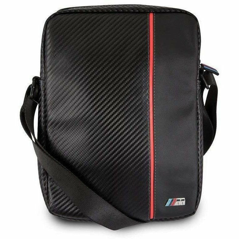 "BMW 9-10"" BLACK TABLET BAG WITH CARBON FIBER EFFECT AND A RED STRIPE."