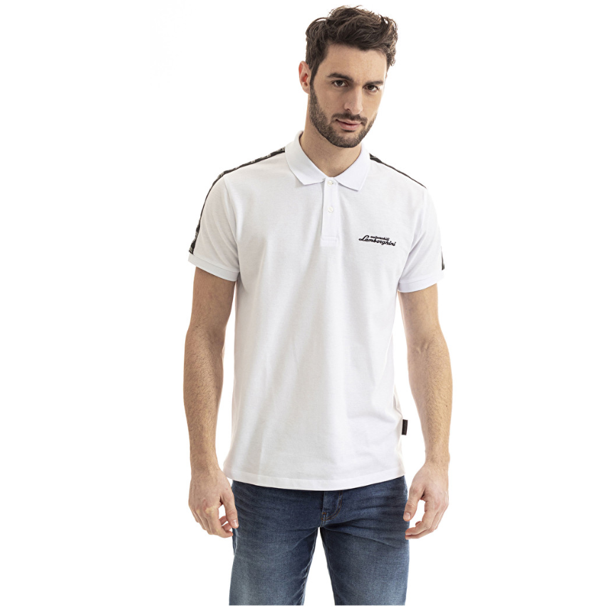 Automobili Lamborghini Men's Tape Insert Polo Shirt White