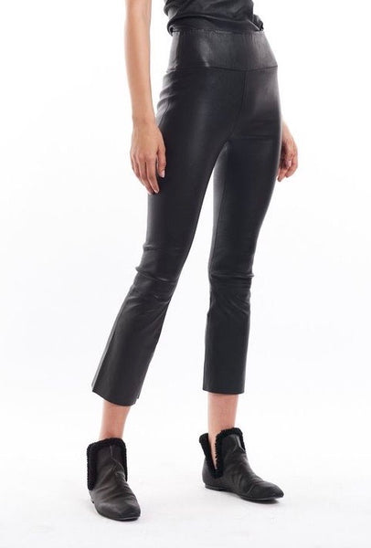 SPRWMN Crop Flare Leather Pant