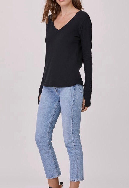 LNA Essential Cotton Long Sleeve V Tee