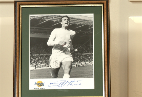 100046 -  Sir Geoff Hurst Framed & Mounted Photo Personally Signed
