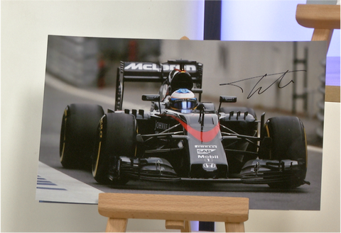 100080 - Fernando Alonso Action Photo Personally Signed