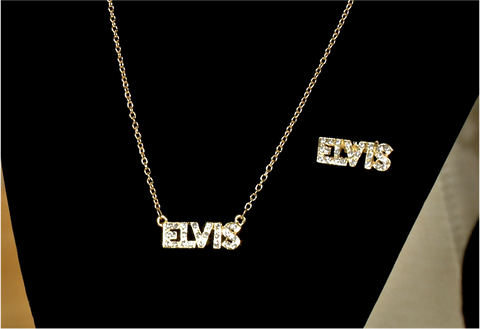 100154 - Elvis Diamonte Necklace & Matching Brooch Set.