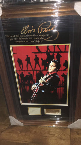 100165 - Elvis Framed Photo & Genuine Complete Large Concert Tour Card Personally Signed by Elvis