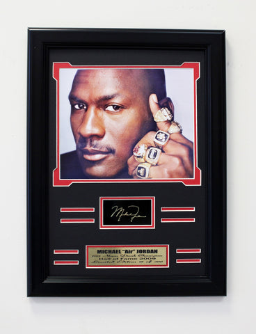 Bulls Michael Jordan 6-Time NBA Champion. Engraved Signature Collage
