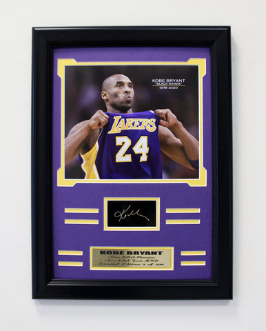 Lakers Kobe Bryant engraved signature collage