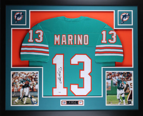 Dolphins-Dan Marino Autographed Jersey Framed. - National Memorabilia