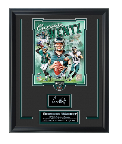 Eagles Carson Wentz Limited Edition Engraved Signature Collage.